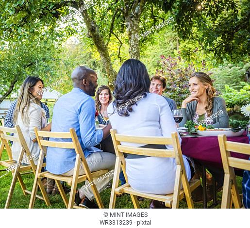 Friends enjoying wine at party outdoors
