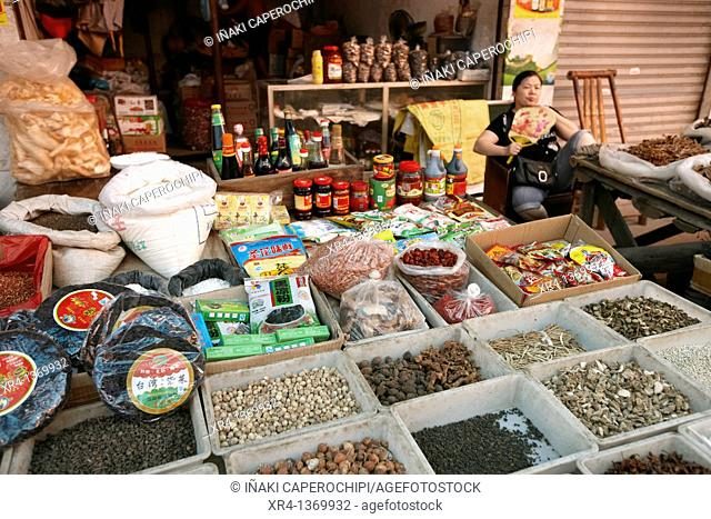 Spice shops, Market Rongjiang, Rongjiang, Guizhou, China