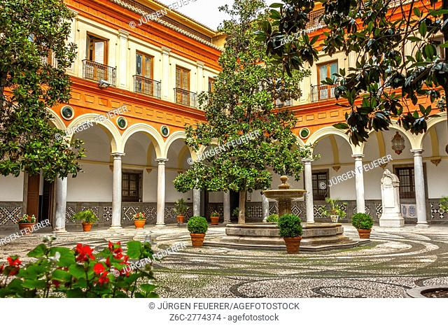 Inner court of the town hall in Granada, Ayuntamiento, Plaza Carmen, Andalusia, Spain