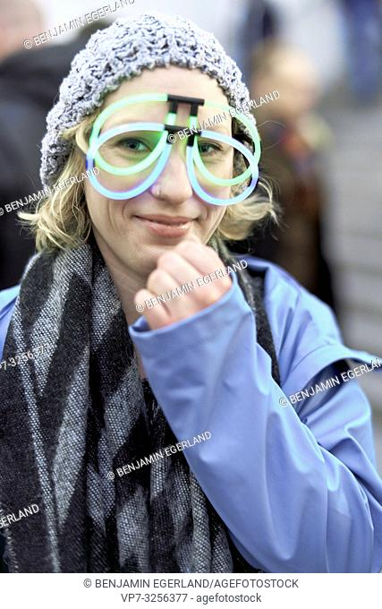 woman with funny eyeglasses, in Munich, Germany