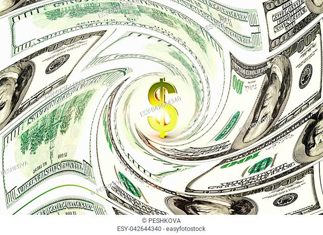 Abstract creative dollar banknote swirl background. Money and cash concept. 3D Rendering