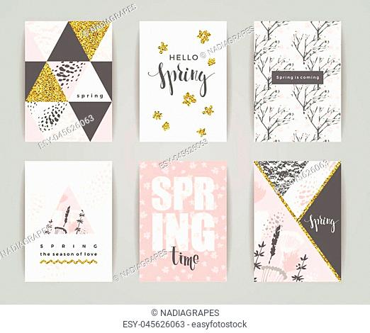 Set of artistic creative spring cards. Hand Drawn and gold glitter textures. Design for poster, card, invitation, placard, brochure, flyer. Vector