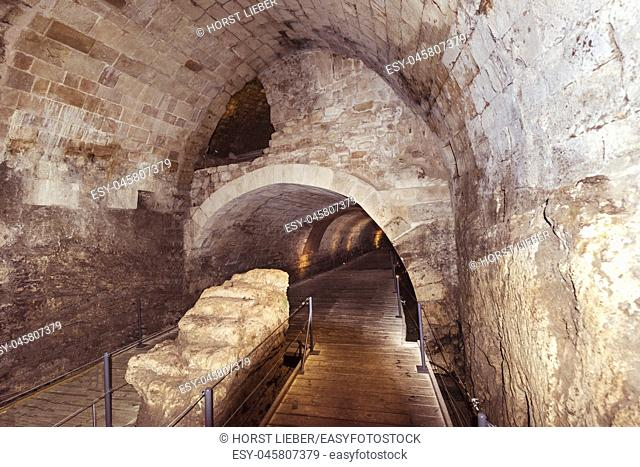 The 350m long Templars tunnel leads from the Templars Palace which was destroyed in 1921 up to Acreâ. . s port in the east, Akko, Israel, Middle East