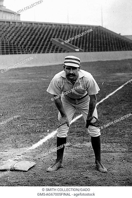 Portrait of Joe Mulvey, American Major League Baseball third baseman from Providence, Rhode Island, standing on the field in a Philadelphia Phillies uniform