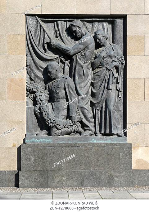 Bronze Relief at the Soviet memorial Schoenholz