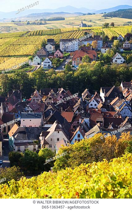 France, Haut-Rhin, Alsace Region, Alasatian Wine Route, Ribeauville, town overview, autumn