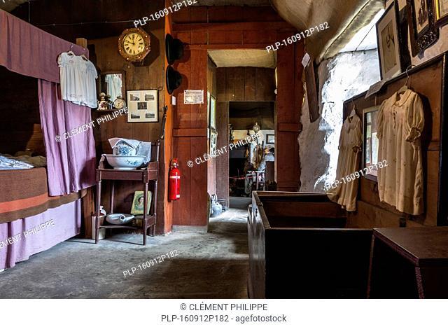 Croft bedroom with box bed at the Skye Museum of Island Life, Kilmuir, Isle of Skye, Scotland