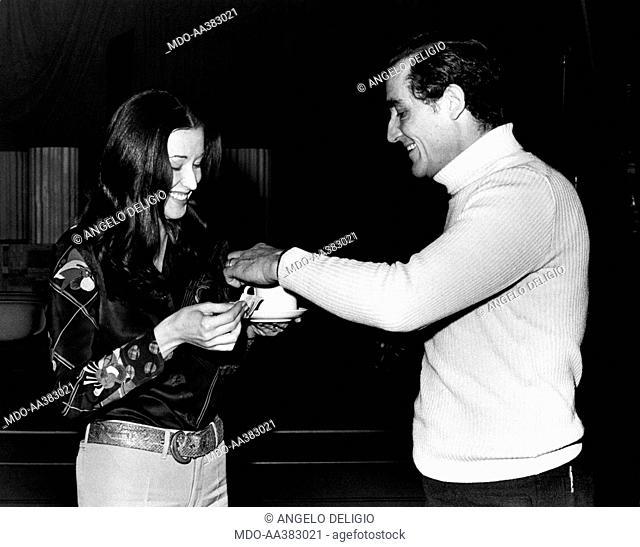 Paola Gassman with Vittorio Gassman. Italian actress Paola Gassman joking with her father Italian actor Vittorio Gassman. Turin, 1970s