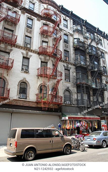 Buildings with firescapes in Little Italy. Lower East Side, Manhattan,  New York, New York. USA