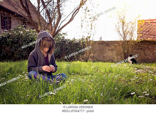 Girl wearing hooded jacket sitting on flower meadow
