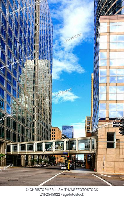 Downtown skyscrapers and cross-walks for easy access during the winterin Minneapolis MN