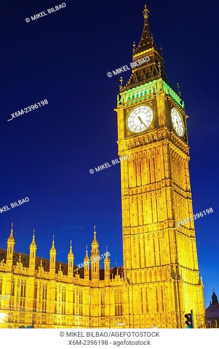 Big Ben at dusk. London, England, United kingdom, Europe