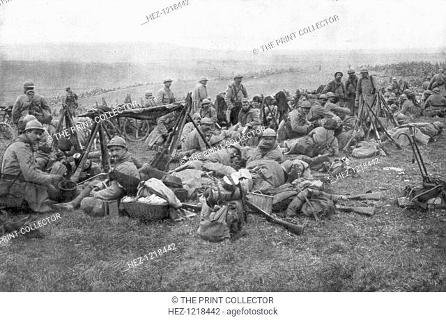French troops at rest, Verdun, France, 1916. The Battle of Verdun was the longest and one of the bloodiest of the First World War