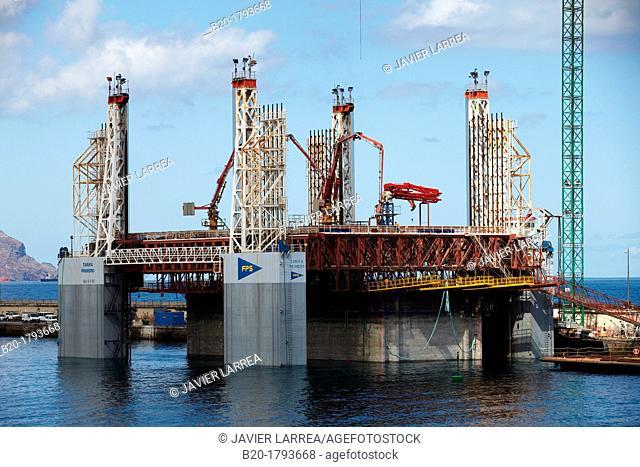 Construction, Waterfront Los Llanos, Atlantic Ocean Coast, Santa Cruz de Tenerife, Tenerife, Canary Island, Spain