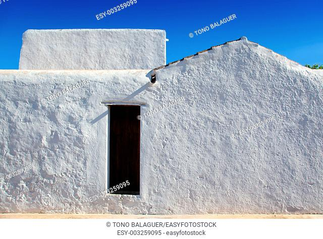 Ibiza Santa Agnes de Corona Ines whitewashed houses facade in Balearic islands