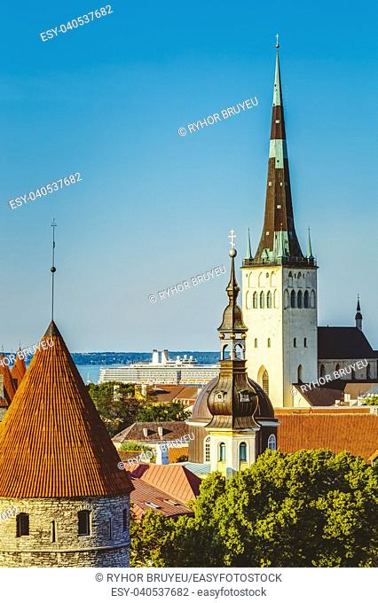 Scenic View Landscape Old City Town Tallinn In Estonia