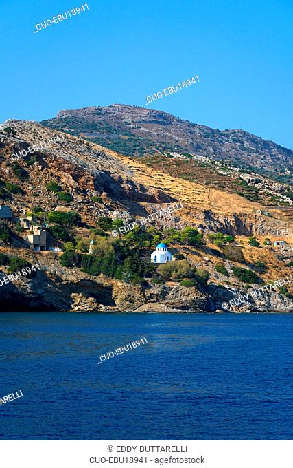 Small church on the rocks of the island of Ikaria, Greece, Europe