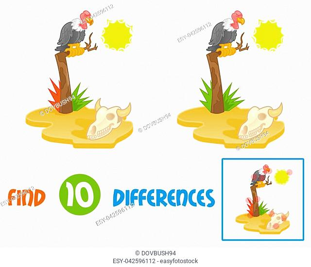 Find differences logic education interactive game for children island with hot sun desert view with gold yellow sand dry old tree on which sits big angry bird...