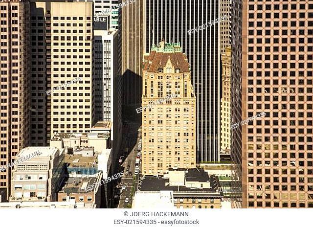 pattern of skyscraper facades with old historic skyscraper