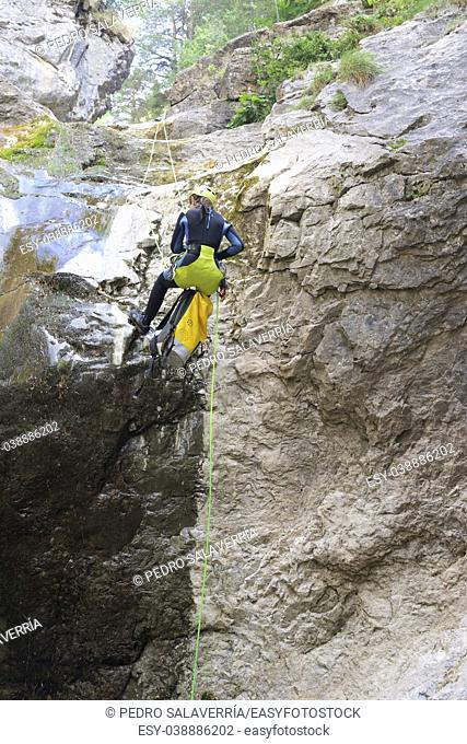 Canyoning in Lapazosa Canyon, Bujaruelo Valley, Pyrenees, Huesca Province, Aragon, Spain