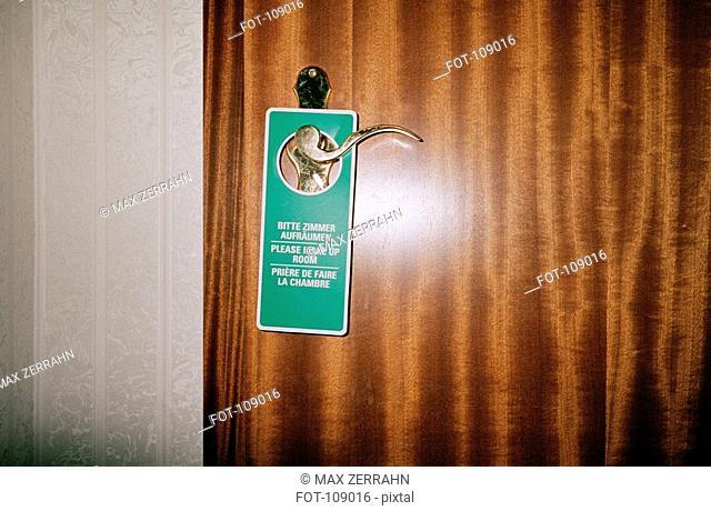 Housekeeping request sign on doorknob