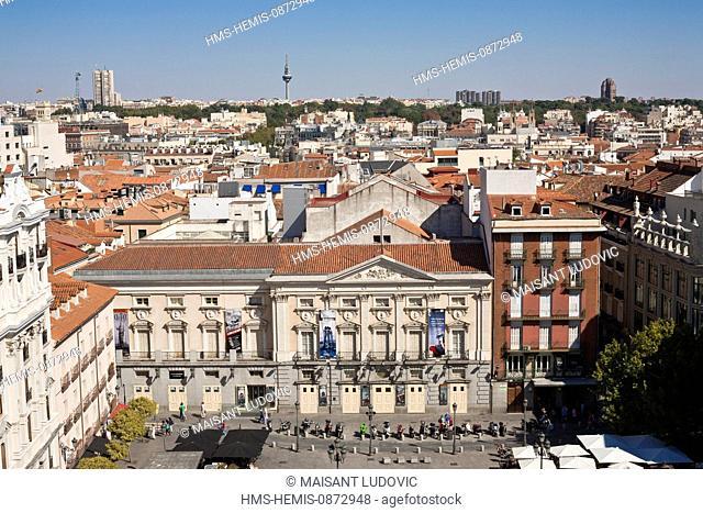 Spain, Madrid, Plaza Santa Ana, overview, Teatro Espanol