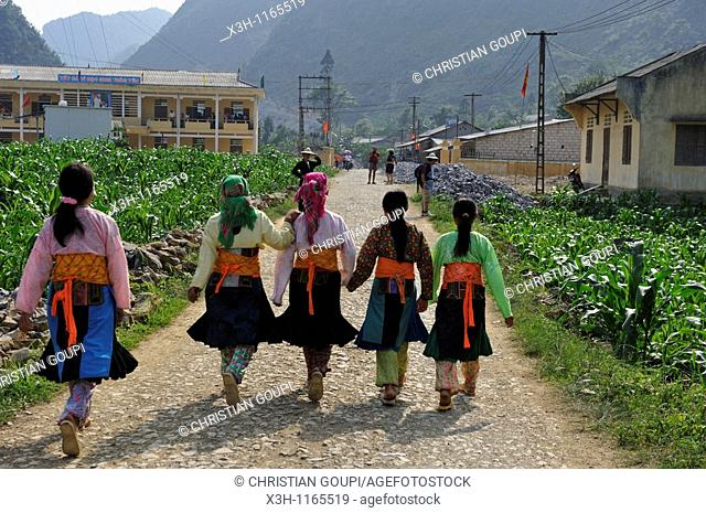 young girls walking together,around Sa Phin,Dong Van plateau,Ha Giang province,northern Vietnam,southeast asia