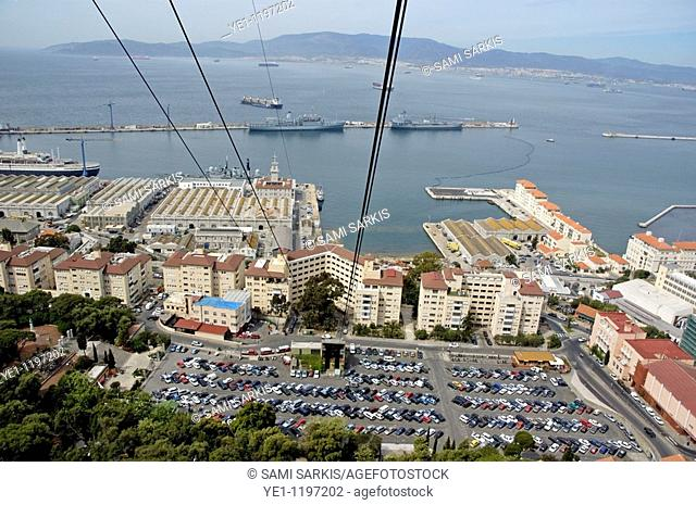 Carpark and port with aerial tramway cables overhead, Gibraltar