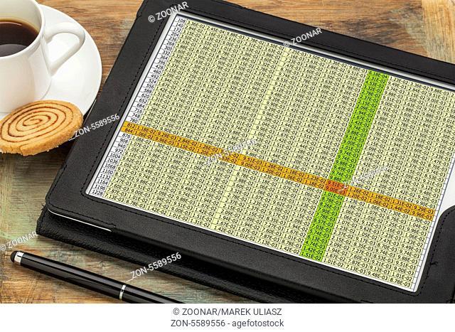 data spreadsheet on digital tablet
