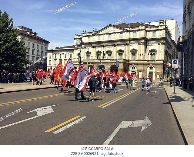 Italy, Lombardy Milan, Piazza della Scala, Scala Square, Trade Union Manifestation. . . .