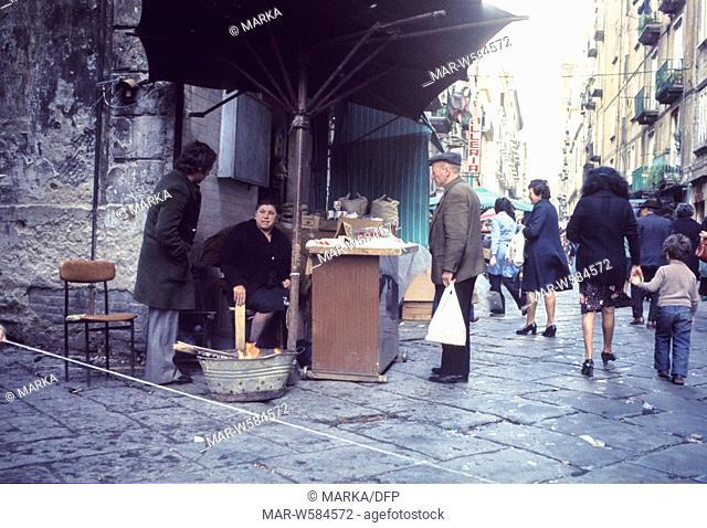 italy, campania, naples, street vendor, 70's