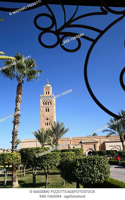 Minaret of Koutoubia Mosque seen from the gardens, Marrakech, Morocco