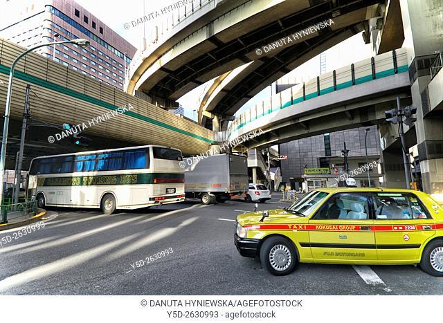 Urban landscape of Tokyo, Hakozaki junction of Metropolitan Expressways 6 and 9, near Tokyo City Terminal, Nihonbashi-Hakozaki-cho, Chuo , Chuo-ku, Tokyo, Japan