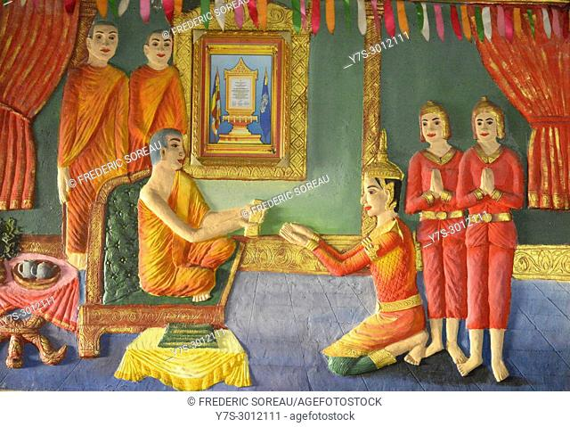 Wall painting inside Pagoda, Bokor Mountain, Kampot Province, Cambodia, South East Asia, Asia