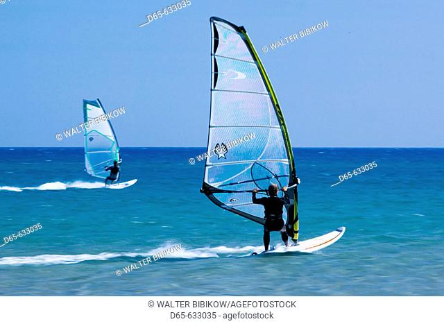 Windsurfing Mecca. Blurry Windsurfer. Cape Prasonisi. Rhodes. Dodecanese, Greece