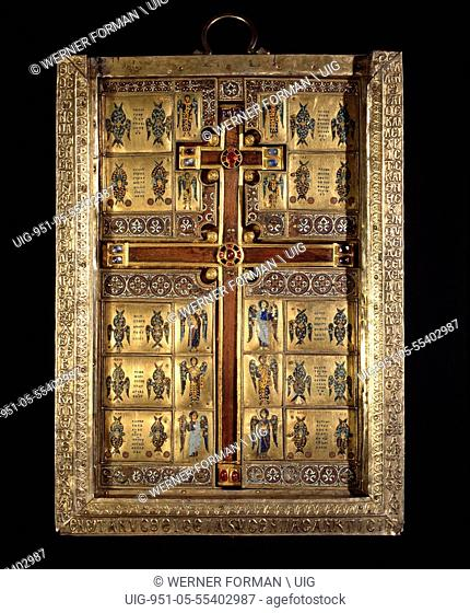 The inner compartment of the reliquary of the True Cross, one of the richest & most elaborate ensembles of Byzantine enamels to have survived the sack of...
