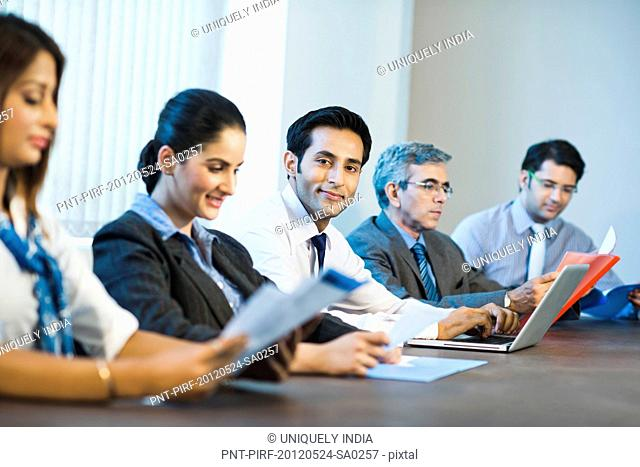 Businessman in a meeting with colleagues