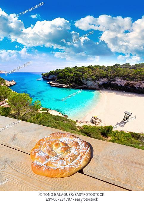 Majorca Cala Llombards Santanyi beach in Mallorca ensaimada photo mount