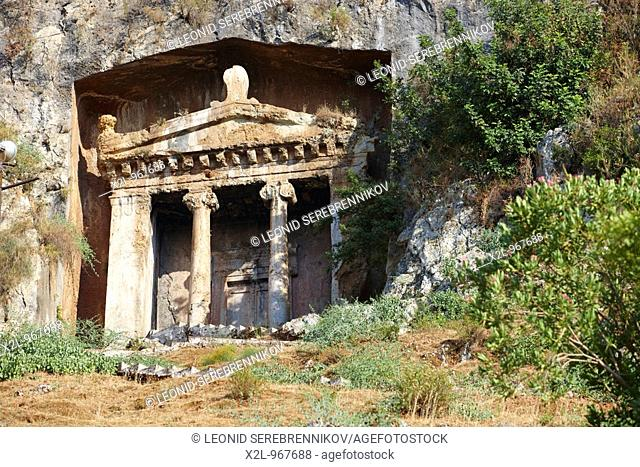 Tomb of Amyntas - rock cut temple-type ancient Lycian tomb located in modern town of Fethiye  Province of Mugla, Turkey