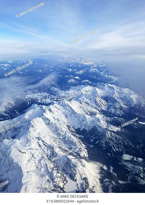 Cascade Mountain Range seen from above. Washington State, USA