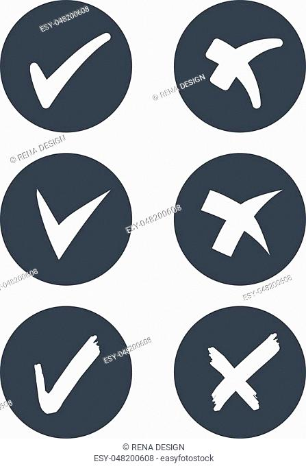 Vector circular check mark symbols - rounded grey buttons - illustration