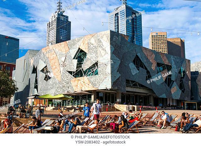 Federation Square, Melbourne on a summer evening