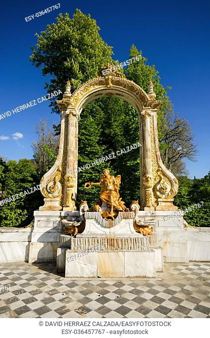 Fountain at palace gardens at La granja de San Ildefonso, Segovia, Spain