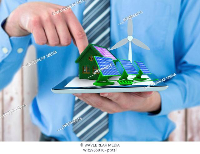solar panels, grass house with solar panel and windmill on tablet