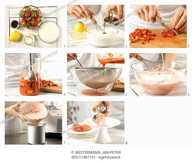 How to prepare strawberry yoghurt ice cream