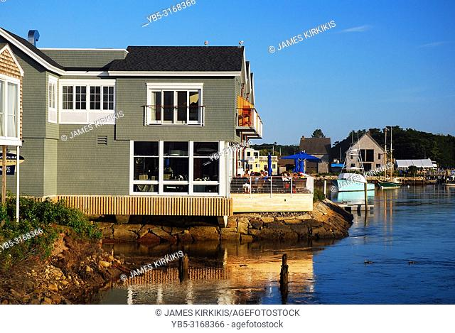 Waterfront businesses line the Kennebunk River in Kennebinkport, Maine