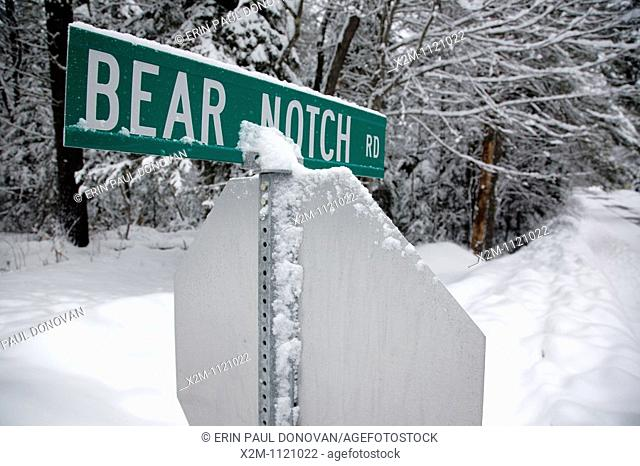 Intersection of the Kancamagus Highway route 112 and Bear Notch Road in the White Mountains, New Hampshire USA
