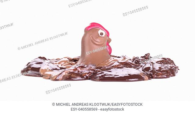 Melting chocolate easter chicken - Isolated on white background