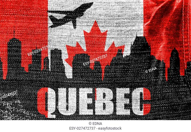 View of Quebec on the Canadian flag on the jeans texture