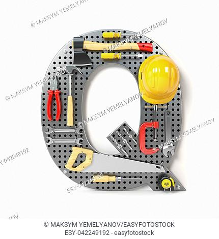 Letter Q. Alphabet from the tools on the metal pegboard isolated on white. 3d illustration